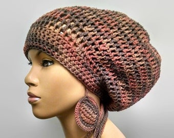 MADE TO ORDER Earth Tones Slouch hat/deadlock hat with drawstring and free matching crochet earrings 100% Cotton Clay Colors Shades of Brown