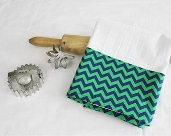 Green & Navy Chevron Flour Sack Kitchen Towel
