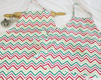 Red and Green Chevron Mother Daughter Aprons