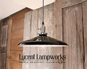"Industrial Lighting With LARGE 14"" Black Shade and Reproduction Wire"