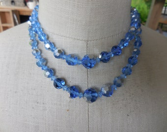 Vintage Double Strand Blue Crystal Necklace Adjustable Silver Tone Mother of the Bride Iridescent 1950s to 1960s