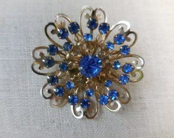 Vintage Gold Tone Flower Pronged Large Pin/Brooch Royal Blue Rhinestone 1960s Open Metal Work
