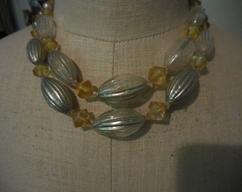 Vintage 1950s to 1960s Japan Glass Double Strand Necklace Silver Tone Yellow  Adjustable Hollow Beads