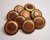 "Burnt Umber 'n Gold: 11/16"" (18mm) Buttons with Gold Metal Accents - Set of 9 New / Unused Matching Buttons"