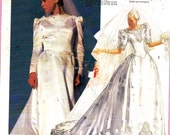 McCall's 2343 Priscilla Wedding Dress With Train Size 8-10-12 or 14-16-18 Uncut pattern
