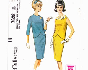 McCall's 7628 Misses Two Piece Skirt and Tulip Top Cowl Neck Mad Men Era Size 14 Bust 34  Pattern