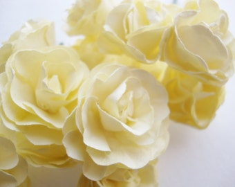 Medium Scalloped Pedal Ivory Yellow Mulberry Paper Roses Flowers -3 Bunches