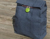 Denim Cloth lunch bag  // Re-useable lunch sack // washable lunch bag
