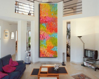 Handmade Large Contemporary Art Canvas Painting, Original Art Acrylic Painting, Abstract Canvas Art, large red, Yellow, pink, blue, green