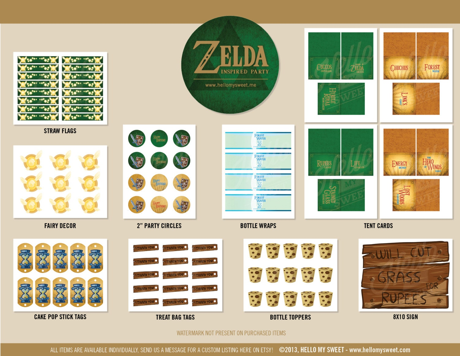 Zelda party set birthday printable decorations by hellomysweet for Decoration zelda