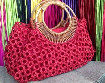 Beautiful Boho Red Crochet Bag With Nylon Lining , Top zipper, Inside Pocket And Rattan Loop Handles