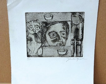 Vintage Original Black and White Etching by artist Duache Buan
