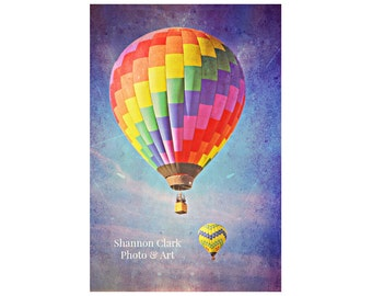 Hot Air Balloon Photography. Rainbow colors. Nursery Decor.  Bright. Colorful. Whimsical. Children's Room Art. Balloons in the sky