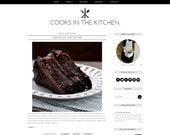 Blogger Template - Cooking Responsive Black and White DIY Blog Design - Instant Download Recipe Cook Chef