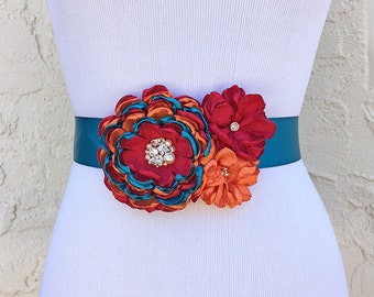 Red Orange Teal Flower Sash with Swarovski Pearls and Sew on Crystals for a Bride, Bridesmaid, Maternity, Special Event or Formal Occasion