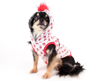 Dog Hoodie tiny Red Skulls with mohawk sleeveless dog tank, clothes for dogs in all sizes