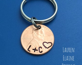 Hand Stamped Lucky Penny Keychain- Anniversary Gift- Choose the Year and Add Initials