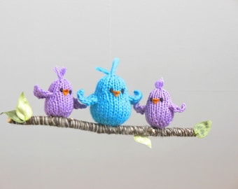 Bird Nursery mobile, Bird Ornament, Bird Baby Mobile, Mobile for Twins, New Mother Ornament, Twins Nursery, Knit Birds Branch Mobile