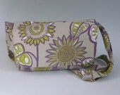 tan messenger bag with purple green sunflowers