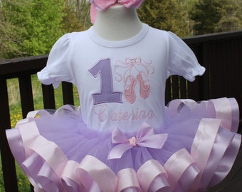 Baby Girls First Birthday, lavender #1 with pink ballet slippers design, lavender tutu trimmed in pink and lavender ribbon and m2m hairbow