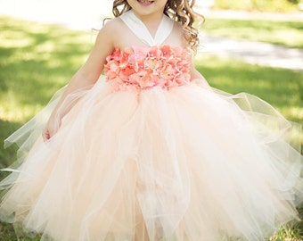 Beautiful peach ivory coral Hydrangea tutu dress - flower girl dress - birthday dress - choose your dress color - size 6-12