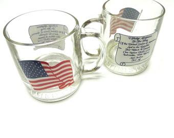American Flag Coffee Cup Mug Pledge of Allegiance Red White Blue
