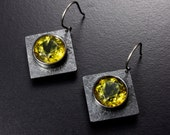 SALE: Green amber silver square earrings