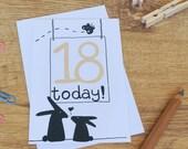 18th Birthday Card - eighteen number card - happy birthday card