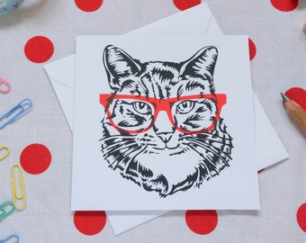 Cat with glasses greetings card