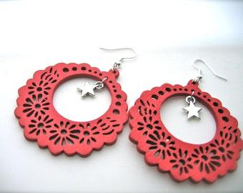 Wooden Earrings. red Earrings. Hoops Earrings. Bright Earrings. Flower Floral,stars earrings