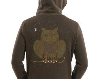 Men's Festival Hoodie, Owl Hoodie, Zip Front Sweater Cotton Hoodie In Olive Green or Black, Uv Clothing