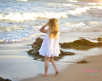girls white eyelet beach dress