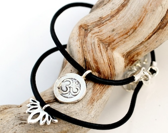 Leather Yoga Bracelet - Om Bracelet- Namaste Bracelet - Lotus Bracelet - Stacking Bracelet