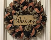 Fall Welcome Wreath, Glitzy Wreath, Animal print Wreath, Deco Mesh Wreath