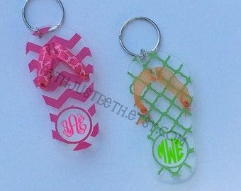 Flip Flop Keychain - acrylic with vinyl and ribbon