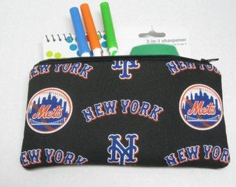 New York Mets Baseball Team Zipper Pencil Or Cosmetic Case