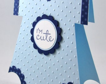 Baby Boy Onesie Greeting Card, Blue, Navy, Baby Blue, White, Polka Dots, Cute, Adorable, Baby Shower, New Baby