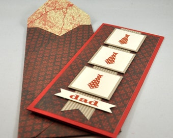 Greeting Card, Father's Day, Birthday, For Him, Dad, Father, Tie, Polka Dots, Brown, Dusty Red, White, Stamped, Blank