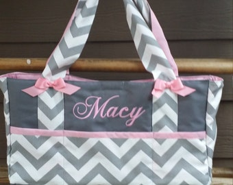Custom Baby Diaper bag-Chevron fabric *6 pocket bag* with name embroidered/personalized/monogrammed-washable-zig zag Baby bags polka dot