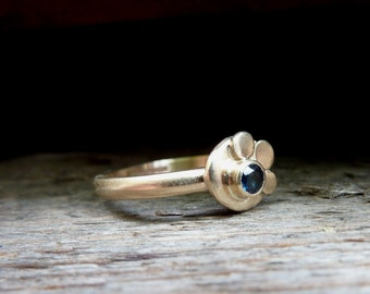 Gold and Sapphire Half Daisy Ring