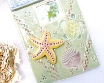 Ceramic Sea Turtle Mirror, Porcelain Turtle Tile, Beach Decor Cottage Theme, Pottery Wall Mirror Tile, Handmade Seashore Ocean Wall Hanging