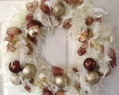 Cream Feather Acorn and Sparkle Feather wreath 18""