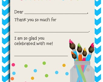 50% OFF SALE - Paint Thank You Notes Printable - Instant Download - Paint My Party Collection
