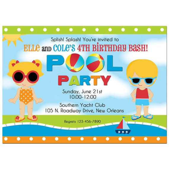 Sibling Pool Party Invitation Printable or Printed with FREE ...