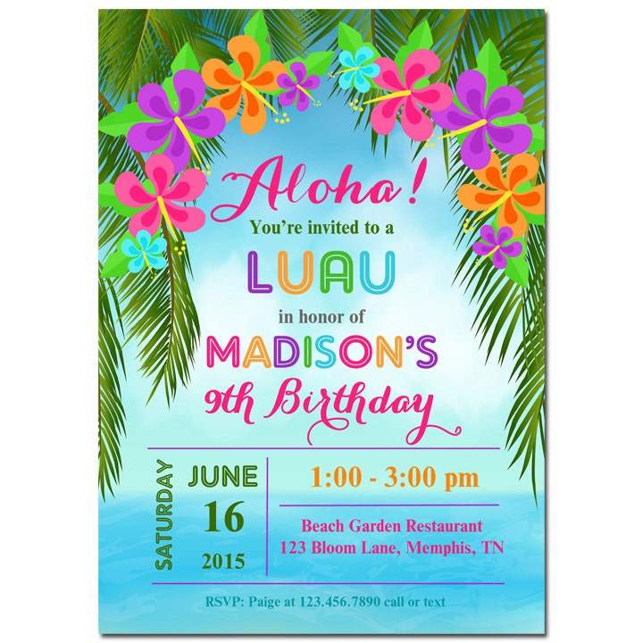 Luau Invitation Printable or Printed with FREE SHIPPING – Free Printable Beach Party Invitations
