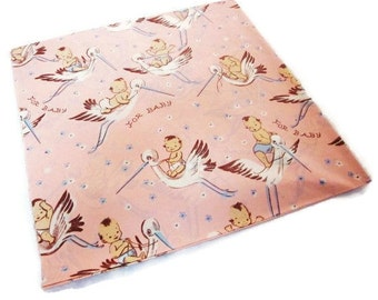 Vintage Wrapping Paper - Stork Flight - New Baby - Full sheet Gift Wrap - Dennison