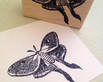 Luna Moth Wood Mounted Rubber Stamp 6279