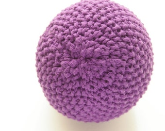 Baby toy ball.Knitted soft toy. Montessori toy chime ball.Baby soft toy. Purple. Toddler toy. Striped toy ball