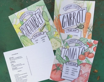 vegetable planting guide postcards, companion planting cards - set of 4 garden cards