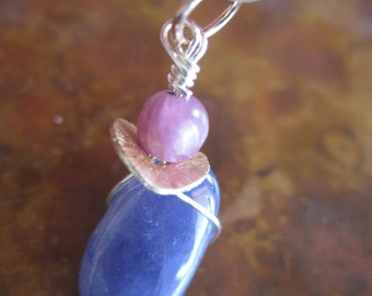 Rough Tanzanite Ruby Pendant Natural Sterling Silver 14k GF Raw Purple Plum Polished Organic Artisan Handcrafted Jewelry